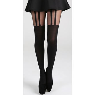 Najlonke PAMELA MANN - 2 Stripe Suspender - Black, PAMELA MANN