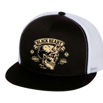 Kapa BLACK HEART - DEVIL SKULL - BIJELA, BLACK HEART