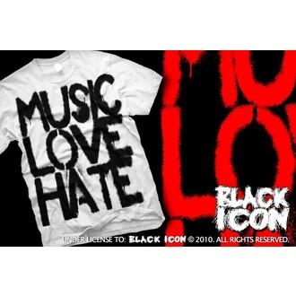 Majica muška Crno IKONA - Music, Ljubav - Bijelo, BLACK ICON