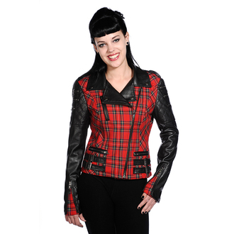 jakna ženska proljeće / jesen BANNED - Red Tartan Faux Koža, BANNED