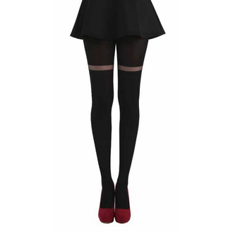 Najlonke PAMELA MANN - Opaque Tights With Sheer Stripe - Crno, PAMELA MANN