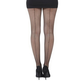 Najlonke PAMELA MANN - Fishnet Seamed Tights Black With Diamante Seam- Crno, PAMELA MANN