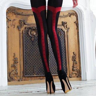 Najlonke LEGWEAR - charley opaque - crne s crvenim šavom, LEGWEAR