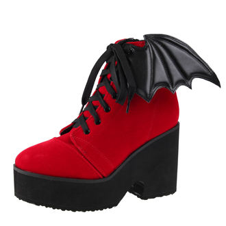 Čizme na punu petu - Bat Wing Boot Red Velvet - IRON FIST, IRON FIST