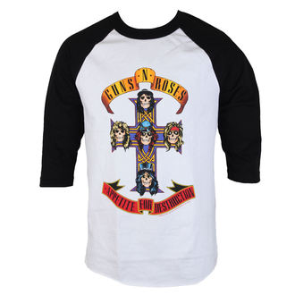 Majica metal muška Guns N' Roses - AFD Raglan-bijelo / crno - BRAVADO, BRAVADO, Guns N' Roses