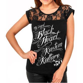 Majica ulična ženska - KUSTOM KULTURE - BLACK HEART, BLACK HEART