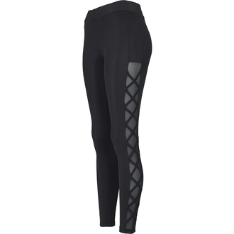 Ženske hlače (tajice) URBAN CLASSICS - Ribbon Mesh - crno, URBAN CLASSICS
