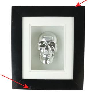 Slika srebrena lubanja u okviru - B0330B4 - OŠTEĆENO, NNM