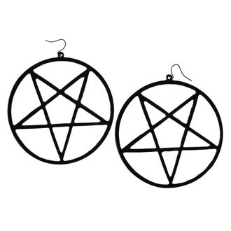 Naušnice Luciferothica - Huge Inverted Pentagram - Black, LUCIFEROTHICA