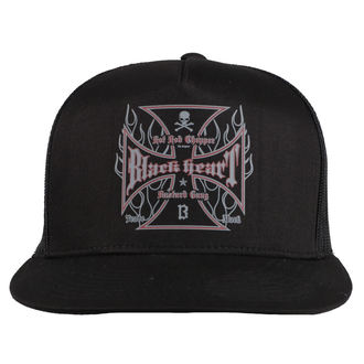 Kapa BLACK HEART - HOT ROD FLAMES - CRNA, BLACK HEART