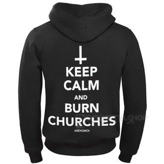 Muška majica s kapuljačom - KEEP CALM AND BURN CHURCHES - AMENOMEN, AMENOMEN