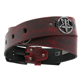 Remen Pentagram Cross - crveni, JM LEATHER