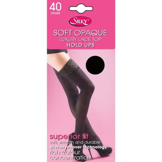 Najlonke LEGWEAR - 40 denier opaque lace top hold ups - crno, LEGWEAR