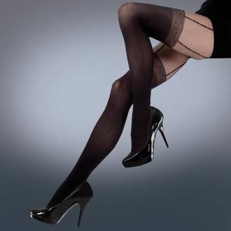 Najlonke LEGWEAR - mock lace suspender - crno, LEGWEAR