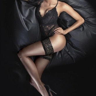 Samostojeće čarape LEGWEAR - Ultra gloss lace top hold ups - Barely black, LEGWEAR